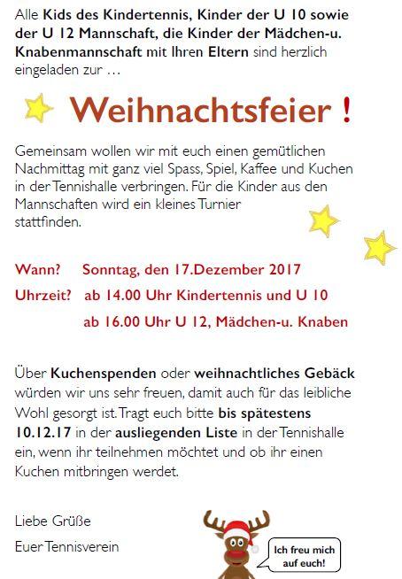 Alle Kinder sind recht herzlich zu unserer Weihnachtsfeier am 17.12 ...